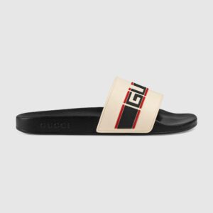Dép Gucci stripe rubber slide sandal white DNG04