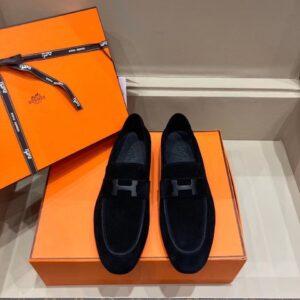 Giày lười Hermes like au da lộn màu đen GHM05