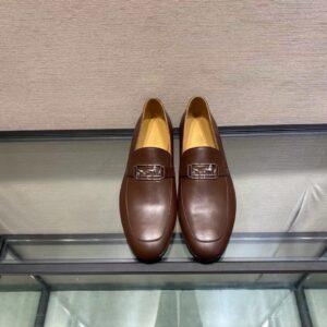 Giày lười Hermes like au họa tiết tuần lộc màu nâu đỏ GHM06
