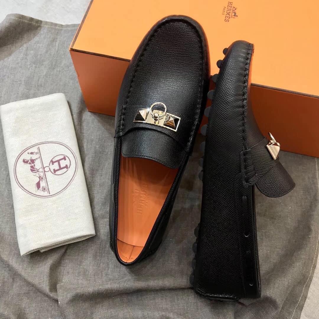 Giày lười Hermes like au họa tiết móc khóa bạc GHM08