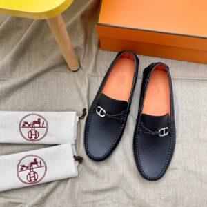 Giày lười Hermes họa tiết tag lệch GHM16