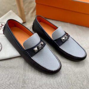 Giày lười Hermes like au họa tiết viền nâu GHM09