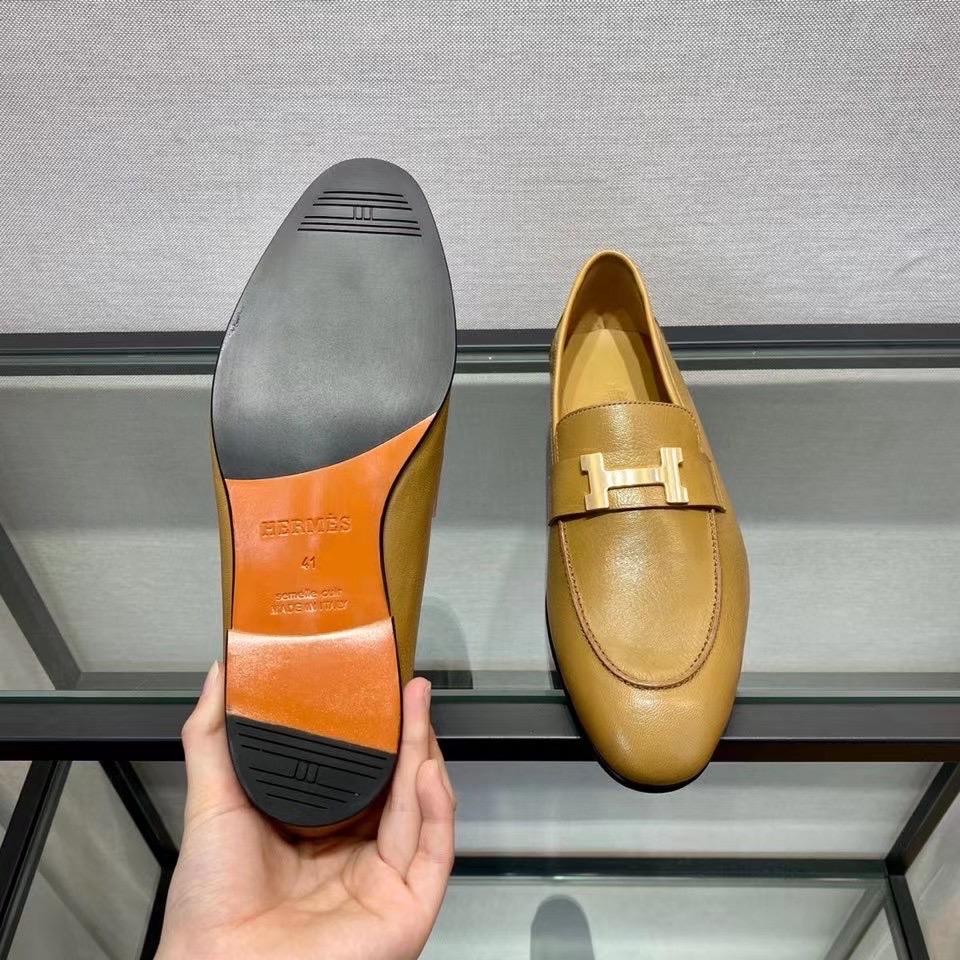 Giày lười Hermes like au màu nâu GHM03