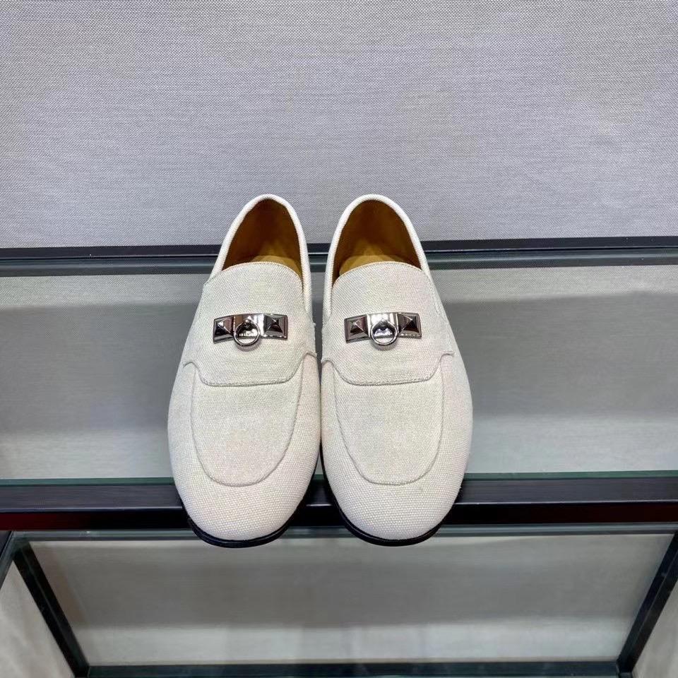 Giày lười Hermes like au đế cao màu trắng GHM12