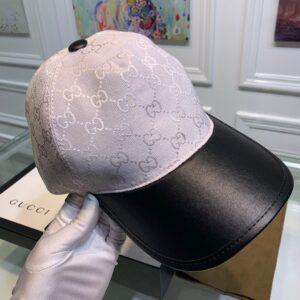 Mũ nam Gucci siêu cấp họa tiết logo phối da màu trắng MGC04