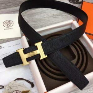 Thắt lưng nam Hermes Like Au họa tiết khóa chữ dây màu đen TLH02