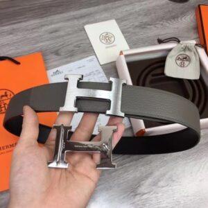 Thắt lưng nam Hermes Like Au họa tiết khóa chữ dây màu xám TLH01
