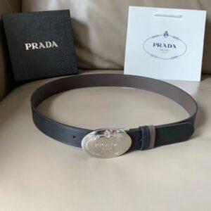 Thắt lưng nam Prada like au khóa tròn mặt bạc TLP10