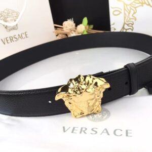 Thắt lưng nam Versace like au dây nhăn khóa vàng TVS07