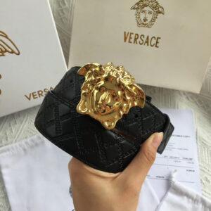 Thắt lưng nam Versace like au hoa tiết dây logo màu đen TVS06