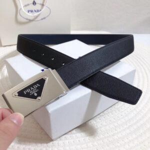 Thắt lưng Prada siêu cấp nam khóa vuông tam giác màu trắng TLP24