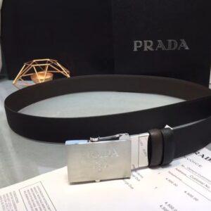 Thắt lưng Prada siêu cấp nam mặt khóa chữ nổi màu trắng TLP25