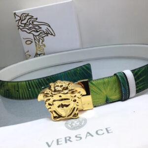 Thắt lưng nam Versace like au dây xanh khóa mặt vàng TVS05