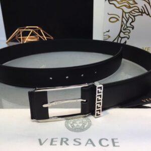 Thắt lưng nam Versace like au logo khắc chữ màu trắng TVS04