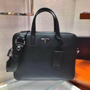 Túi xách nam Prada họa tiết logo màu đen TXP01