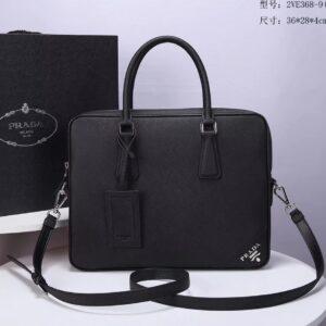 Túi xách nam Prada like au logo góc màu đen TXP06