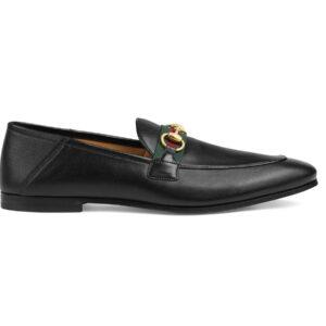 Giày Gucci Leather Horsebit Loafers With Web Black Like Au