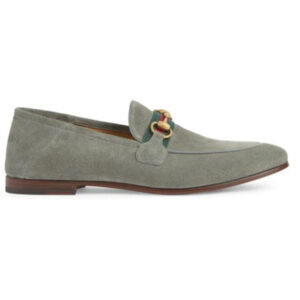 Giày Gucci Suede Web Horsebit Loafers In Grey Like Au