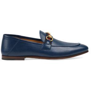 Giày Gucci Blue Leather Horsebit Loafers With Web Like Au
