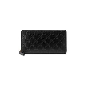 Ví Gucci siêu cấp Black GG Print Signature Zip Wallet VNG01