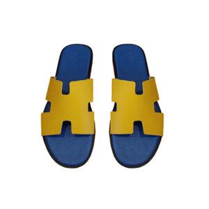 Dép Hermes siêu cấp da taiga màu vàng DNH13
