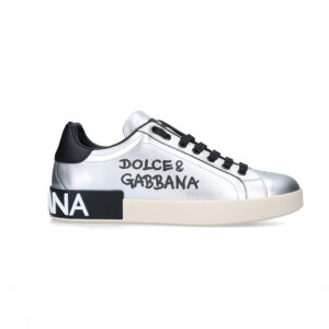 Giày D&G siêu cấpSilver Metallic Portofino Sneakers GDG09