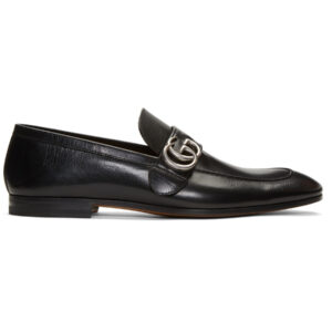 Giày Gucci Leather Loafer With Double G In Black Like Au