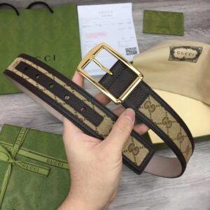 Thắt lưng Gucci siêu cấp Beige and Brown Gg Supreme Canvas TLG07