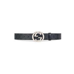 Thắt lưng Gucci siêu cấp GG Supreme Belt With G Buckle đen xám TLG02