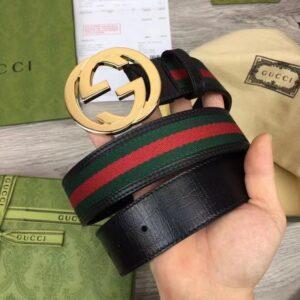 Thắt lưng Gucci siêu cấp Web Belt With G Buckle màu xanh Navy TLG05