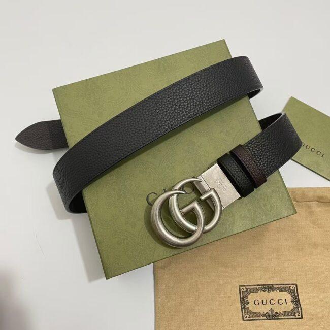 Thắt lưng Gucci siêu cấp GG Marmont reversible belt mặt trắng TLG09