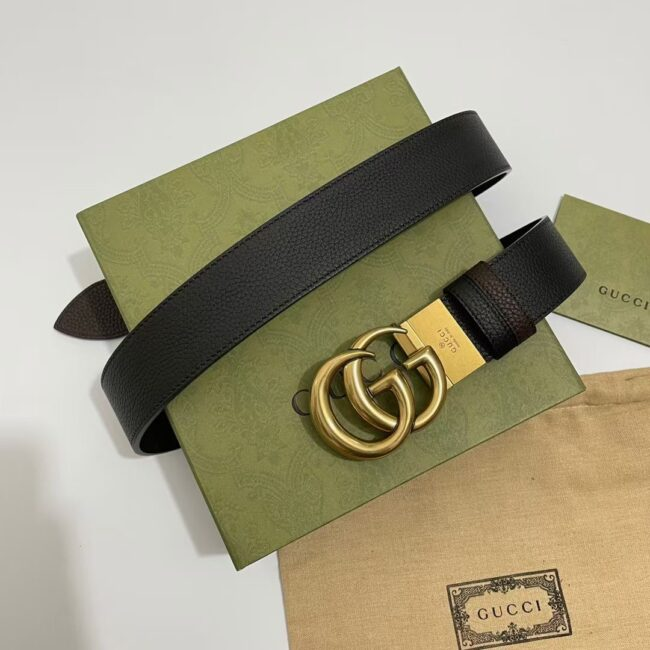 Thắt lưng Gucci Reversible leather belt with Double G buckle TLG10