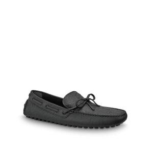 Giày lười Louis Vuitton siêu cấp Arizona Moccasin In Marine màu đen GLLV13
