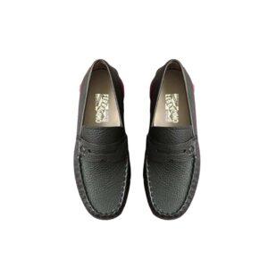 Giày lười Salvatore Ferragamo Like Au da nhăn màu đen GSF01