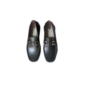 Giày lười Salvatore Ferragamo Like au da trơn màu đen GSF02