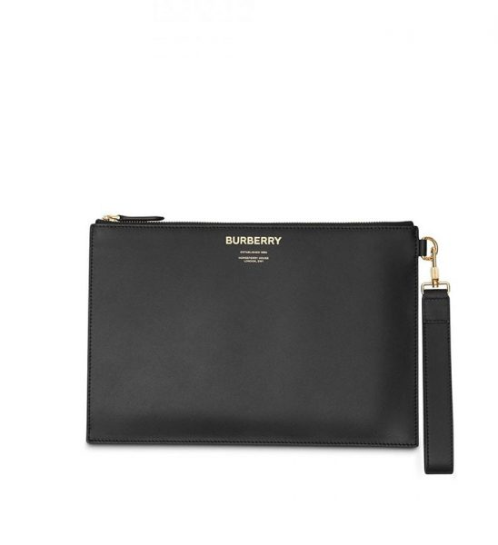 Clutch Burberry siêu cấp Horseferry Print Leather Zip Pouch màu đen