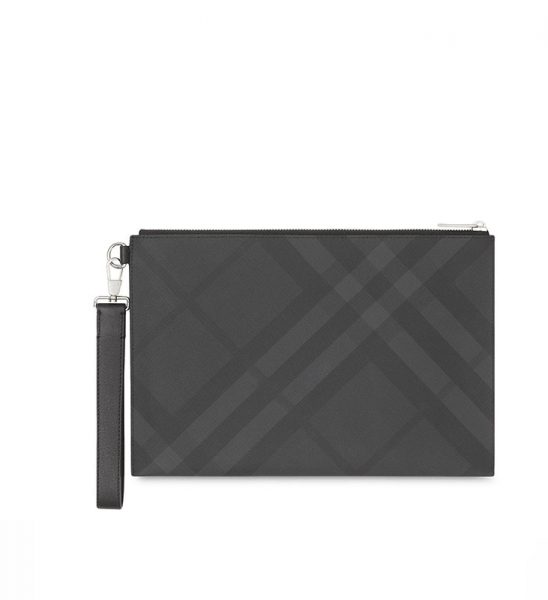 Clutch Burberry London Check Leather Zip Pouch Like Au CLB01