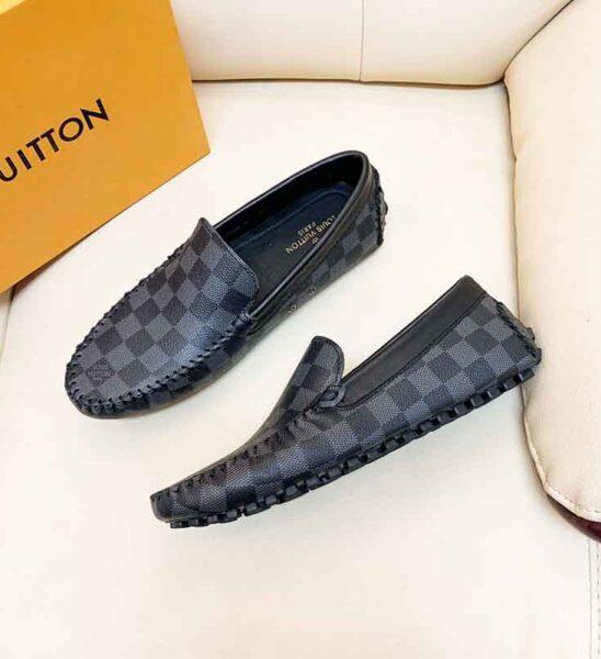 Giày lười Louis Vuitton siêu cấp họa tiết caro đen