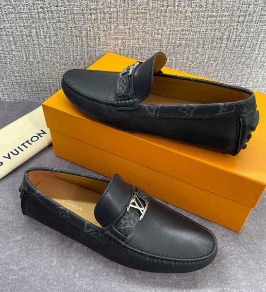 Giày lười Louis Vuitton siêu cấp họa tiết tag hoa đen