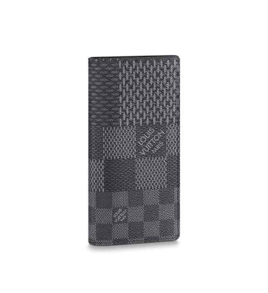 Ví dài Louis Vuitton siêu cấp Brazza Wallet caro màu xám