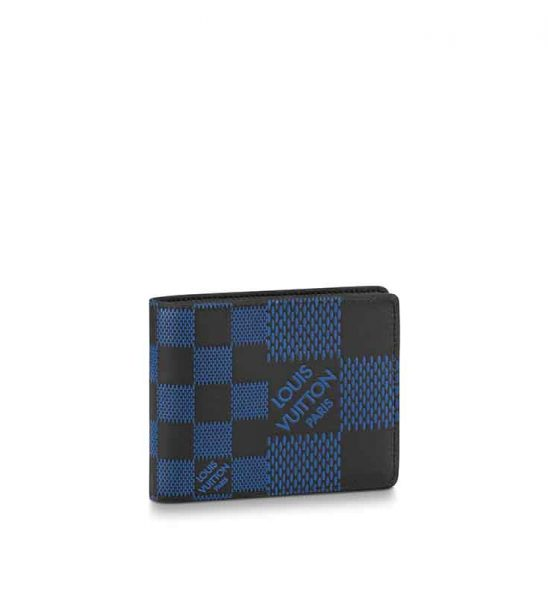 Ví nam Louis Vuitton siêu cấpMultiple Wallet caro logo màu xanh