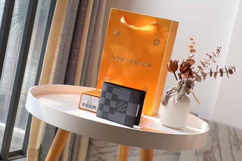 Ví nam Louis Vuitton siêu cấp Multiple Wallet họa tiết caro logo